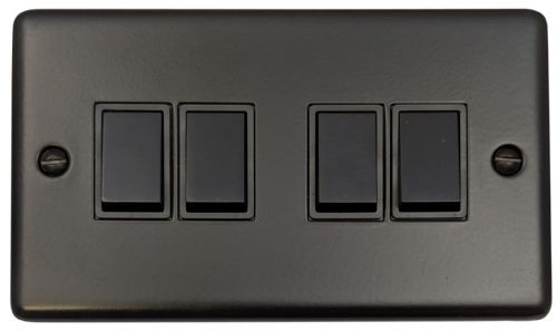 G&H CFB4B Standard Plate Matt Black 4 Gang 1 or 2 Way Rocker Light Switch